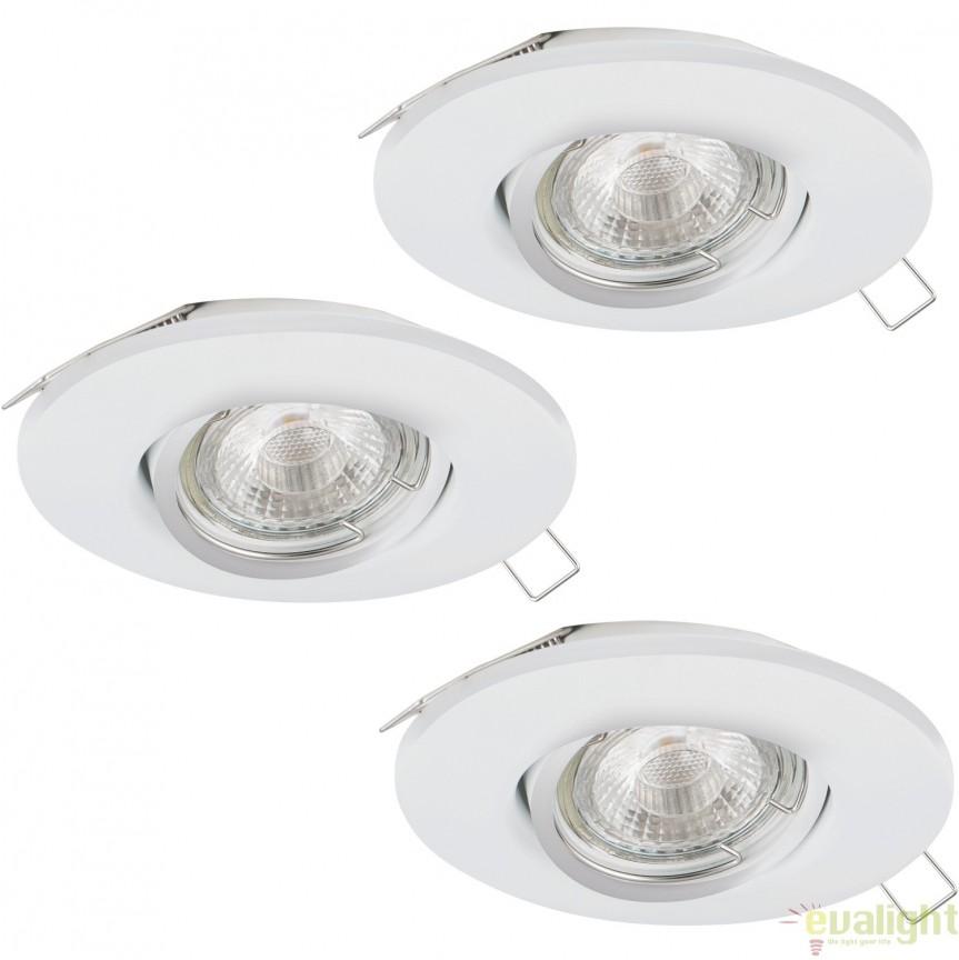 Set 3 spoturi incastrabile, directionabile cu iluminat GU10-LED, alb, PENETO 1 95895 EL, Spoturi LED incastrate, aplicate, Corpuri de iluminat, lustre, aplice, veioze, lampadare, plafoniere. Mobilier si decoratiuni, oglinzi, scaune, fotolii. Oferte speciale iluminat interior si exterior. Livram in toata tara.  a