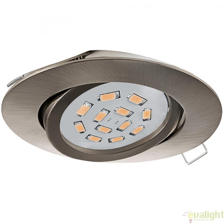 Spot incastrabil, directionabil cu iluminat GU10-LED, nickel, diametru 8cm, TEDO 31688 EL, Spoturi LED incastrate, aplicate, Corpuri de iluminat, lustre, aplice, veioze, lampadare, plafoniere. Mobilier si decoratiuni, oglinzi, scaune, fotolii. Oferte speciale iluminat interior si exterior. Livram in toata tara.  a