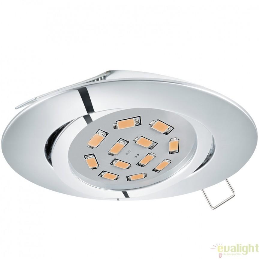 Spot incastrabil, directionabil cu iluminat GU10-LED, crom, diametru 8cm, TEDO 95361 EL, Spoturi LED incastrate, aplicate, Corpuri de iluminat, lustre, aplice, veioze, lampadare, plafoniere. Mobilier si decoratiuni, oglinzi, scaune, fotolii. Oferte speciale iluminat interior si exterior. Livram in toata tara.  a