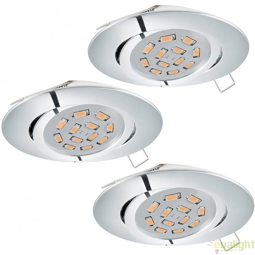 Set 3 spoturi incastrabile, directionabile cu iluminat GU10-LED, crom, diametru 8cm, TEDO 1 95362 EL, Spoturi incastrate, aplicate - tavan / perete, Corpuri de iluminat, lustre, aplice, veioze, lampadare, plafoniere. Mobilier si decoratiuni, oglinzi, scaune, fotolii. Oferte speciale iluminat interior si exterior. Livram in toata tara.  a