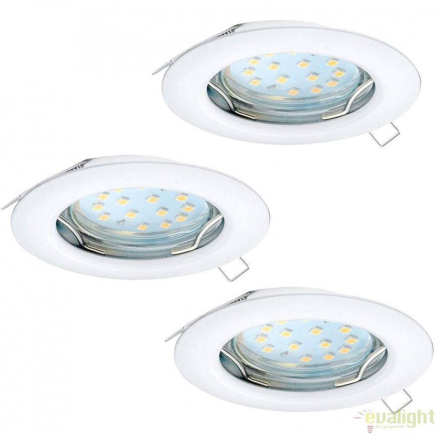 Set 3 spoturi incastrabile cu iluminat GU10-LED, alb, diametru 7,8cm, PENETO 94235 EL, Spoturi LED incastrate, aplicate, Corpuri de iluminat, lustre, aplice, veioze, lampadare, plafoniere. Mobilier si decoratiuni, oglinzi, scaune, fotolii. Oferte speciale iluminat interior si exterior. Livram in toata tara.  a