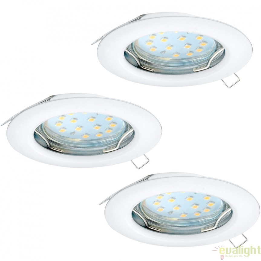 Set 3 spoturi incastrabile cu iluminat GU10-LED, alb, diametru 7,8cm, PENETO 94235 EL, Magazin,  a