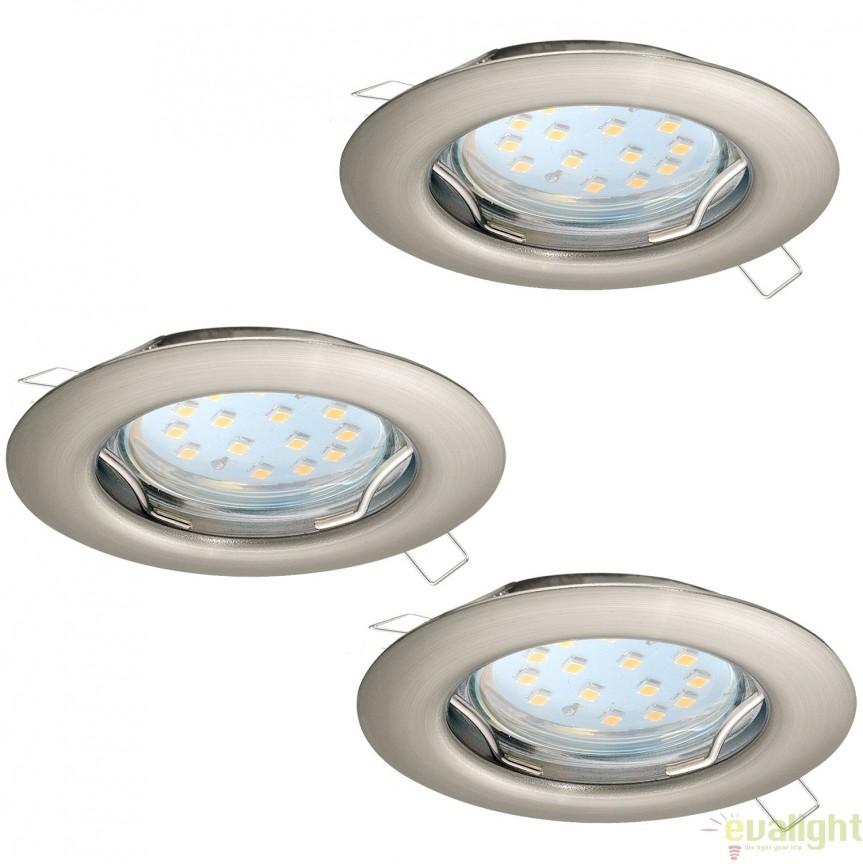 Set 3 spoturi incastrabile cu iluminat GU10-LED, nickel, diametru 7,8cm, PENETO 94237 EL, Spoturi LED incastrate, aplicate, Corpuri de iluminat, lustre, aplice, veioze, lampadare, plafoniere. Mobilier si decoratiuni, oglinzi, scaune, fotolii. Oferte speciale iluminat interior si exterior. Livram in toata tara.  a