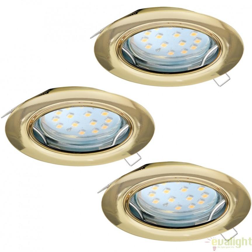 Set 3 spoturi incastrabile cu iluminat GU10-LED, alama, diametru 7,8cm, PENETO 94404 EL, Spoturi LED incastrate, aplicate, Corpuri de iluminat, lustre, aplice, veioze, lampadare, plafoniere. Mobilier si decoratiuni, oglinzi, scaune, fotolii. Oferte speciale iluminat interior si exterior. Livram in toata tara.  a