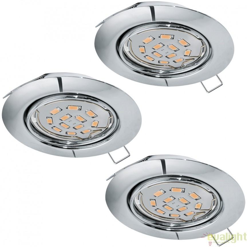 Set 3 spoturi incastrabile cu iluminat GU10-LED, crom, diametru 8,7cm, PENETO 94407 EL, Spoturi LED incastrate, aplicate, Corpuri de iluminat, lustre, aplice, veioze, lampadare, plafoniere. Mobilier si decoratiuni, oglinzi, scaune, fotolii. Oferte speciale iluminat interior si exterior. Livram in toata tara.  a