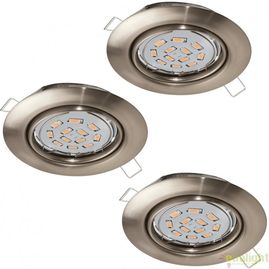 Set 3 spoturi incastrabile cu iluminat GU10-LED, nickel, diametru 8,7cm, PENETO 94408 EL, Spoturi LED incastrate, aplicate, Corpuri de iluminat, lustre, aplice, veioze, lampadare, plafoniere. Mobilier si decoratiuni, oglinzi, scaune, fotolii. Oferte speciale iluminat interior si exterior. Livram in toata tara.  a