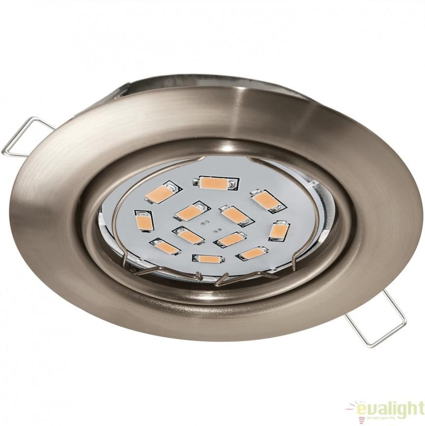 Spot incastrabil cu iluminat GU10-LED, nickel, diametru 8,7cm, PENETO 94242 EL, Spoturi incastrate, aplicate - tavan / perete, Corpuri de iluminat, lustre, aplice, veioze, lampadare, plafoniere. Mobilier si decoratiuni, oglinzi, scaune, fotolii. Oferte speciale iluminat interior si exterior. Livram in toata tara.  a
