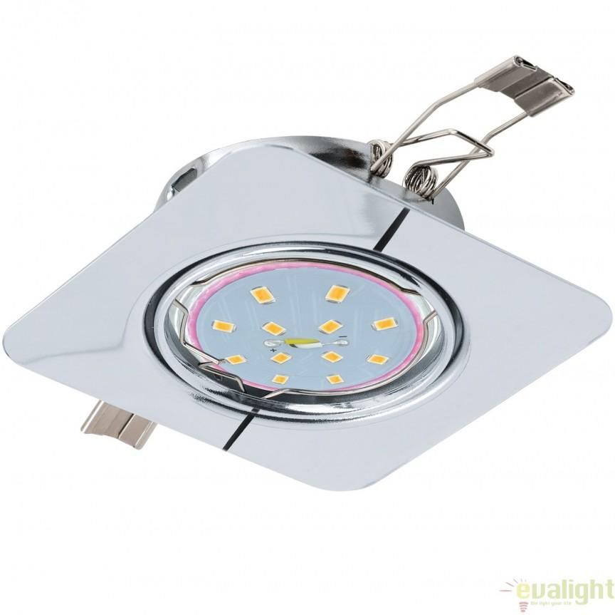 Spot incastrabil cu iluminat GU10-LED, crom, 8,7x8,7cm, PENETO 94263 EL, Spoturi LED incastrate, aplicate, Corpuri de iluminat, lustre, aplice, veioze, lampadare, plafoniere. Mobilier si decoratiuni, oglinzi, scaune, fotolii. Oferte speciale iluminat interior si exterior. Livram in toata tara.  a