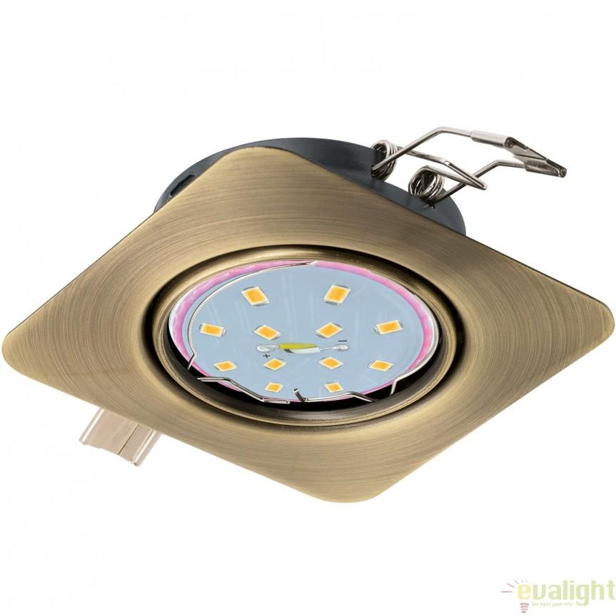 Spot incastrabil cu iluminat GU10-LED, bronz, 8,7x8,7cm, PENETO 94265 EL, Spoturi LED incastrate, aplicate, Corpuri de iluminat, lustre, aplice, veioze, lampadare, plafoniere. Mobilier si decoratiuni, oglinzi, scaune, fotolii. Oferte speciale iluminat interior si exterior. Livram in toata tara.  a