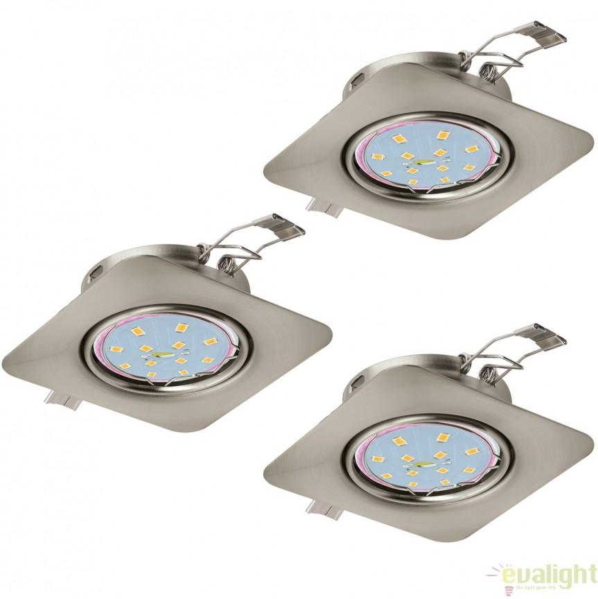 Set 3 spoturi incastrabile cu iluminat GU10-LED, nickel, 8,7x8,7cm, PENETO 94268 EL, Spoturi LED incastrate, aplicate, Corpuri de iluminat, lustre, aplice, veioze, lampadare, plafoniere. Mobilier si decoratiuni, oglinzi, scaune, fotolii. Oferte speciale iluminat interior si exterior. Livram in toata tara.  a