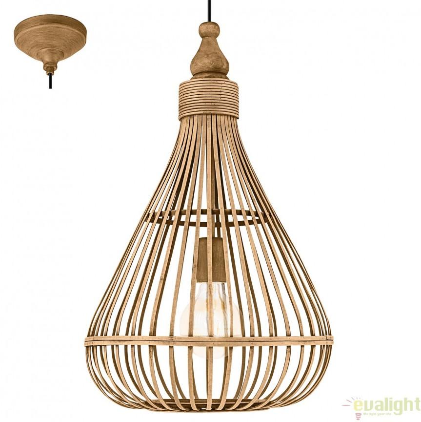 Lustra, Pendul design Vintage din lemn maro, diam.35cm AMSFIELD 49772 EL, Magazin,  a