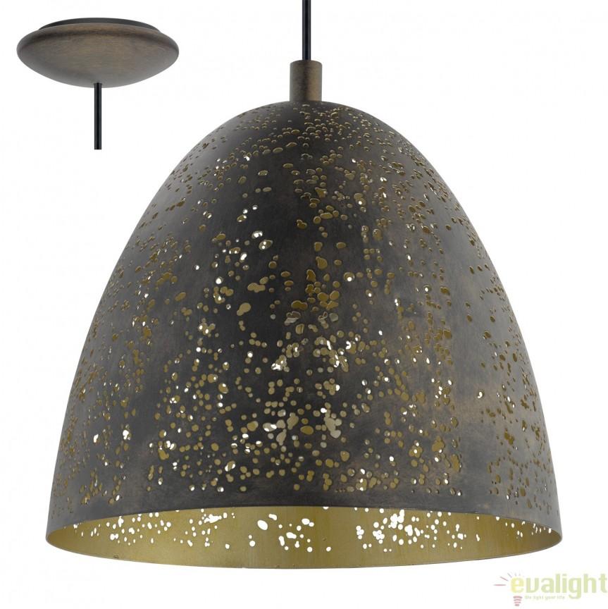 Lustra, Pendul design Industrial Style, finisaj maro/auriu, diam.27,5cm, SAFI 49814 EL, NOU ! Lustre VINTAGE, RETRO, INDUSTRIA Style,  a