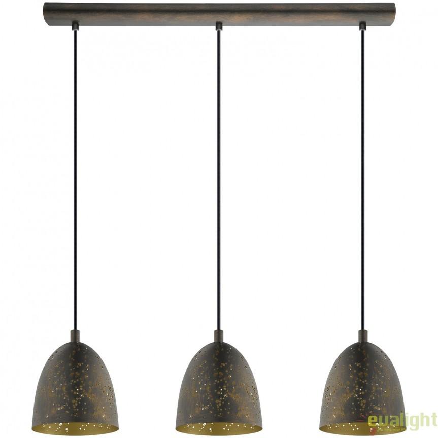 Lustra cu 3 pendule design Industrial Style, finisaj maro/auriu, SAFI 49871 EL, NOU ! Lustre VINTAGE, RETRO, INDUSTRIA Style, Corpuri de iluminat, lustre, aplice, veioze, lampadare, plafoniere. Mobilier si decoratiuni, oglinzi, scaune, fotolii. Oferte speciale iluminat interior si exterior. Livram in toata tara.  a