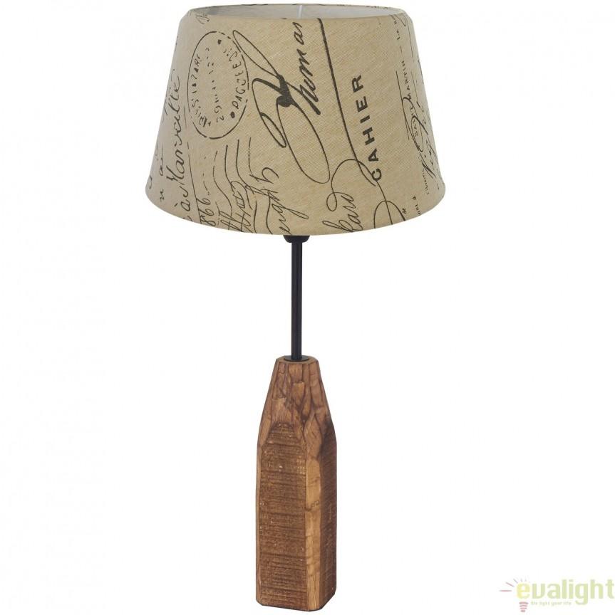 Veioza, Lampa de masa din lemn, design rustic, RINSEY 49665 EL, Veioze, Corpuri de iluminat, lustre, aplice, veioze, lampadare, plafoniere. Mobilier si decoratiuni, oglinzi, scaune, fotolii. Oferte speciale iluminat interior si exterior. Livram in toata tara.  a