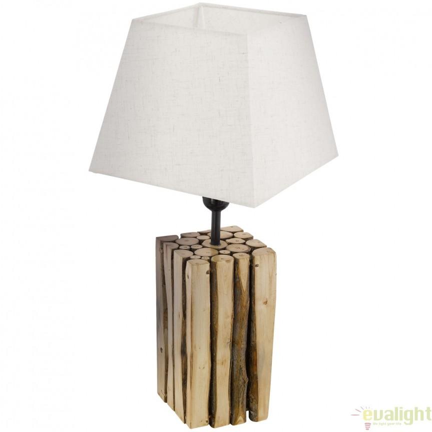 Veioza, Lampa de masa din lemn, design Vintage, RIBADEO 49669 EL, Veioze, Lampi de masa, Corpuri de iluminat, lustre, aplice, veioze, lampadare, plafoniere. Mobilier si decoratiuni, oglinzi, scaune, fotolii. Oferte speciale iluminat interior si exterior. Livram in toata tara.  a