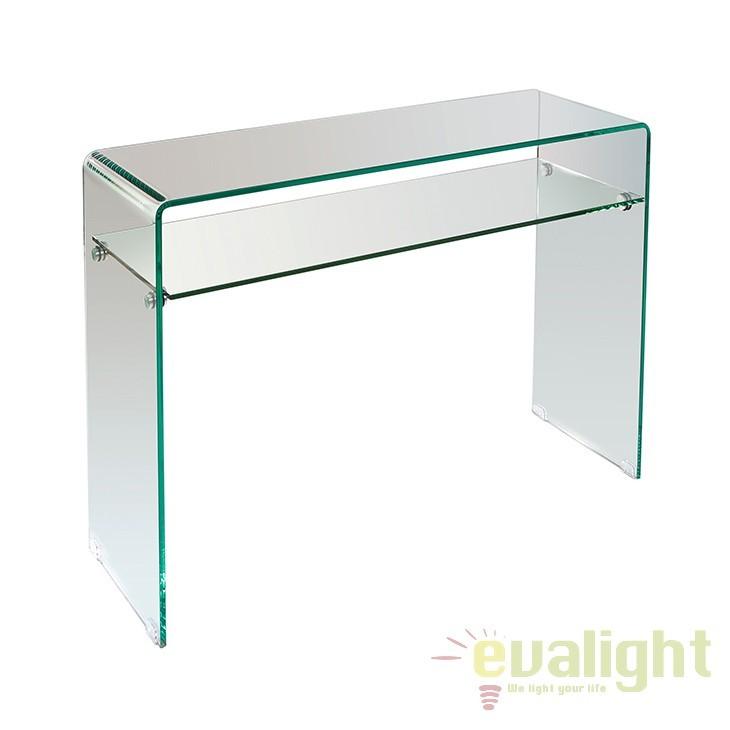 Consola eleganta din sticla curbata Elva 51872 SAP, Console - Birouri, Corpuri de iluminat, lustre, aplice, veioze, lampadare, plafoniere. Mobilier si decoratiuni, oglinzi, scaune, fotolii. Oferte speciale iluminat interior si exterior. Livram in toata tara.  a