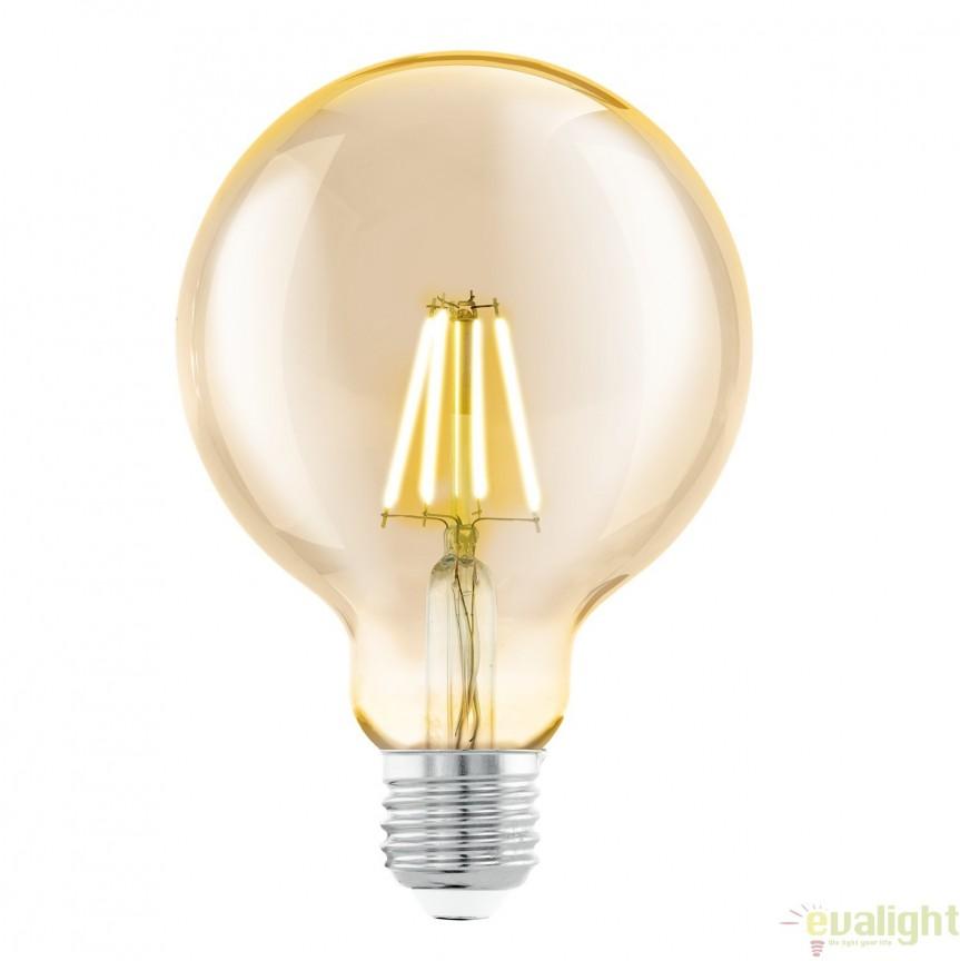 Bec E27-LED-G95 4W 2200k 11522 EL, BECURI ILUMINAT, Corpuri de iluminat, lustre, aplice, veioze, lampadare, plafoniere. Mobilier si decoratiuni, oglinzi, scaune, fotolii. Oferte speciale iluminat interior si exterior. Livram in toata tara.  a