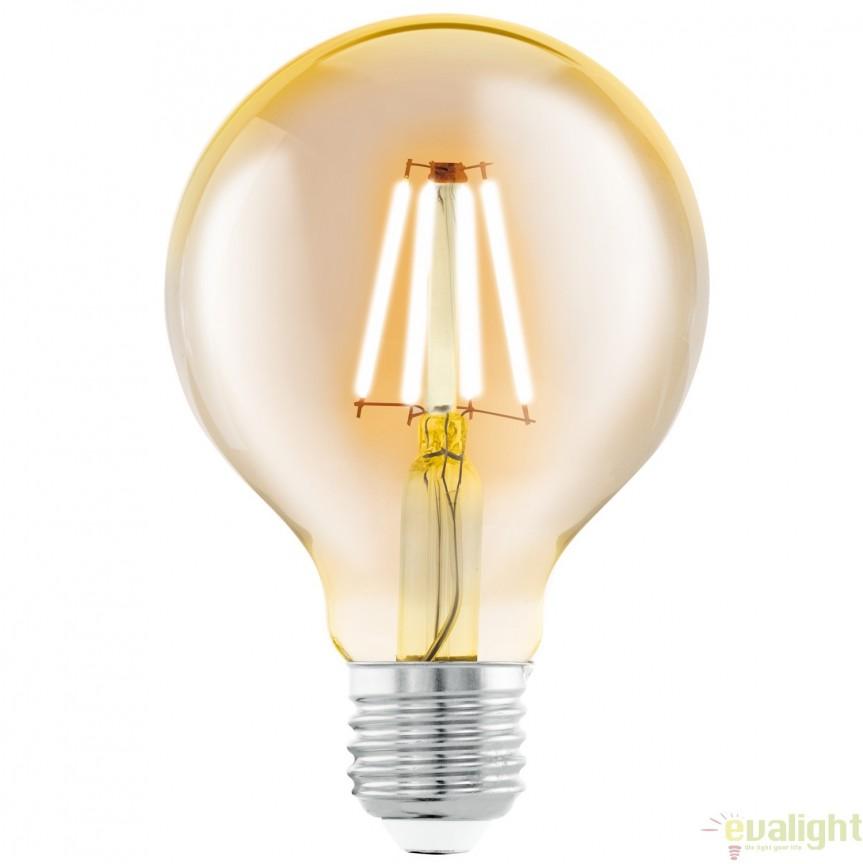 Bec E27-LED-G80 4W 330lm 2200k 11556 EL, BECURI ILUMINAT, Corpuri de iluminat, lustre, aplice, veioze, lampadare, plafoniere. Mobilier si decoratiuni, oglinzi, scaune, fotolii. Oferte speciale iluminat interior si exterior. Livram in toata tara.  a