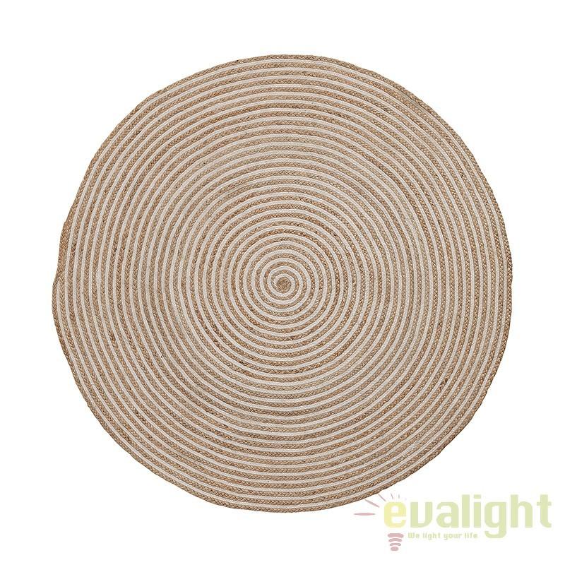 Covor rotund din iuta diametru 100cm SAMY natural/ alb AA1256FN05 JG, Mobila si Decoratiuni,  a