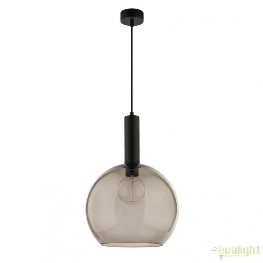 Lustra design modern cu abajur din sticla LAF negru/ fumuriu 1576 - LAF C/D JP, Pendule, Lustre suspendate, Corpuri de iluminat, lustre, aplice, veioze, lampadare, plafoniere. Mobilier si decoratiuni, oglinzi, scaune, fotolii. Oferte speciale iluminat interior si exterior. Livram in toata tara.  a