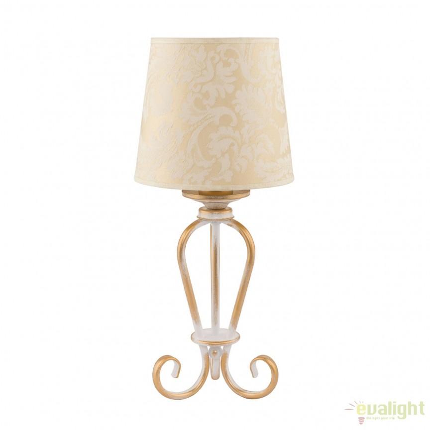 Veioza eleganta cu abajur din tesatura ecru cu auriu SOFIA 1594 - SI L JP, Veioze, Lampi de masa, Corpuri de iluminat, lustre, aplice, veioze, lampadare, plafoniere. Mobilier si decoratiuni, oglinzi, scaune, fotolii. Oferte speciale iluminat interior si exterior. Livram in toata tara.  a