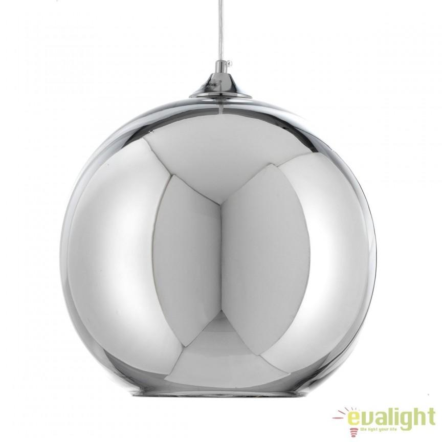 Pendul din sticla cu efect de oglinda design modern GLOB 2823 FTP, Pendule, Lustre suspendate, Corpuri de iluminat, lustre, aplice, veioze, lampadare, plafoniere. Mobilier si decoratiuni, oglinzi, scaune, fotolii. Oferte speciale iluminat interior si exterior. Livram in toata tara.  a