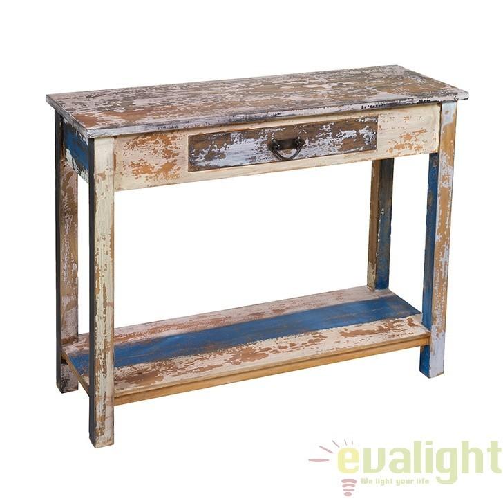 Consola din lemn de mahon, design shabby chic Solo 51662 SAP, Console - Birouri, Corpuri de iluminat, lustre, aplice, veioze, lampadare, plafoniere. Mobilier si decoratiuni, oglinzi, scaune, fotolii. Oferte speciale iluminat interior si exterior. Livram in toata tara.  a