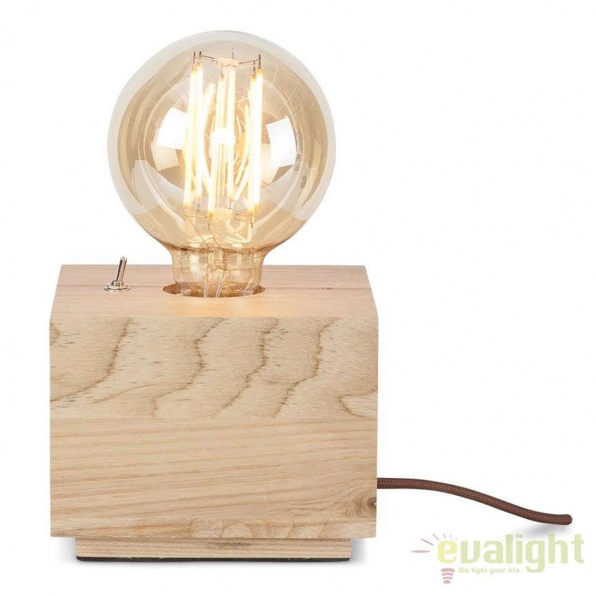 Lampa de masa din lemn de frasin, KOBE/TS cub, Veioze, Lampi de masa, Corpuri de iluminat, lustre, aplice, veioze, lampadare, plafoniere. Mobilier si decoratiuni, oglinzi, scaune, fotolii. Oferte speciale iluminat interior si exterior. Livram in toata tara.  a