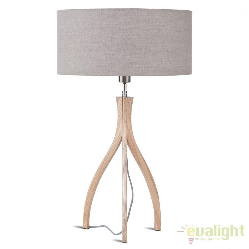Lampa de masa cu trepied din lemn, MONTREAL/T/N, abajur 47x23cm disponibil in 15 culori, Veioze, Lampi de masa, Corpuri de iluminat, lustre, aplice, veioze, lampadare, plafoniere. Mobilier si decoratiuni, oglinzi, scaune, fotolii. Oferte speciale iluminat interior si exterior. Livram in toata tara.  a