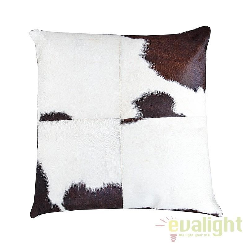 Set de 4 perne din piele naturala de vaca, Rodeo 45x45cm maro/ alb A-37446 VC, Perne - Fete de perne, Corpuri de iluminat, lustre, aplice, veioze, lampadare, plafoniere. Mobilier si decoratiuni, oglinzi, scaune, fotolii. Oferte speciale iluminat interior si exterior. Livram in toata tara.  a