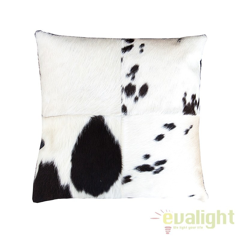 Set de 4 perne din piele naturala de vaca, Rodeo 45x45cm negru/ alb A-37447 VC, Perne - Fete de perne, Corpuri de iluminat, lustre, aplice, veioze, lampadare, plafoniere. Mobilier si decoratiuni, oglinzi, scaune, fotolii. Oferte speciale iluminat interior si exterior. Livram in toata tara.  a