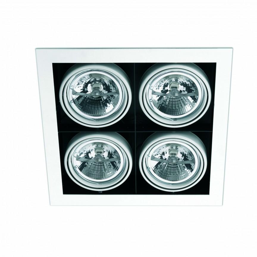 Plafoniera incastrabila cu 4 spoturi HELIO-5 Alb 43335, Spoturi incastrate, aplicate - tavan / perete, Corpuri de iluminat, lustre, aplice, veioze, lampadare, plafoniere. Mobilier si decoratiuni, oglinzi, scaune, fotolii. Oferte speciale iluminat interior si exterior. Livram in toata tara.  a