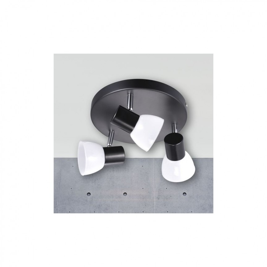 Plafoniera cu 3 spoturi LED Mambo negru 77740003 NL, Spoturi - iluminat - cu 3 spoturi, Corpuri de iluminat, lustre, aplice, veioze, lampadare, plafoniere. Mobilier si decoratiuni, oglinzi, scaune, fotolii. Oferte speciale iluminat interior si exterior. Livram in toata tara.  a