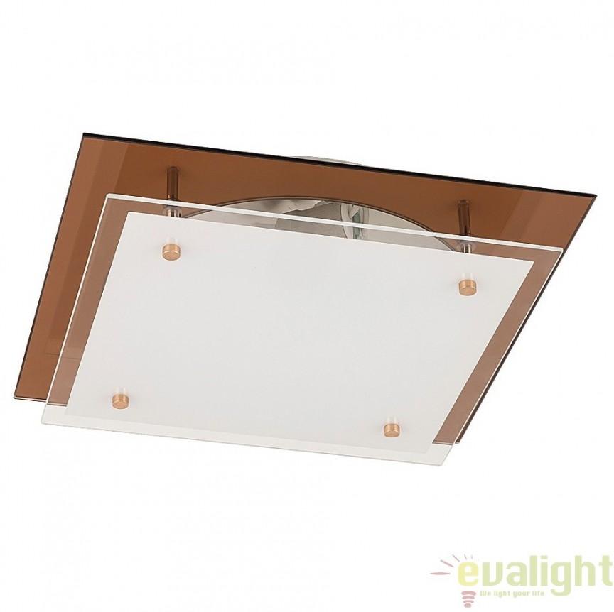 Aplica de perete sau tavan din sticla, 31,5x31,5cm, Cindy 2476 RX, Aplice de perete simple, Corpuri de iluminat, lustre, aplice, veioze, lampadare, plafoniere. Mobilier si decoratiuni, oglinzi, scaune, fotolii. Oferte speciale iluminat interior si exterior. Livram in toata tara.  a