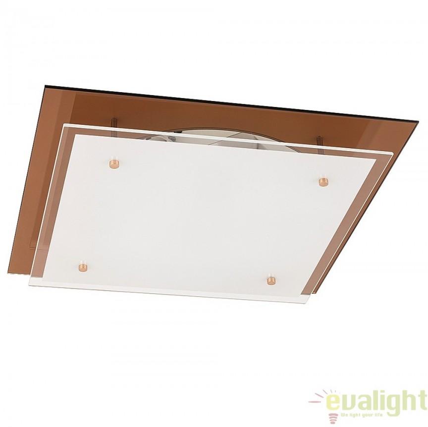 Aplica de perete sau tavan din sticla, 42x42cm, Cindy 2477 RX, Aplice de perete simple, Corpuri de iluminat, lustre, aplice, veioze, lampadare, plafoniere. Mobilier si decoratiuni, oglinzi, scaune, fotolii. Oferte speciale iluminat interior si exterior. Livram in toata tara.  a