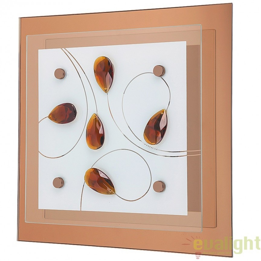 Aplica de perete sau tavan din sticla, 24x24cm, Chloe 2874 RX, Aplice de perete simple, Corpuri de iluminat, lustre, aplice, veioze, lampadare, plafoniere. Mobilier si decoratiuni, oglinzi, scaune, fotolii. Oferte speciale iluminat interior si exterior. Livram in toata tara.  a