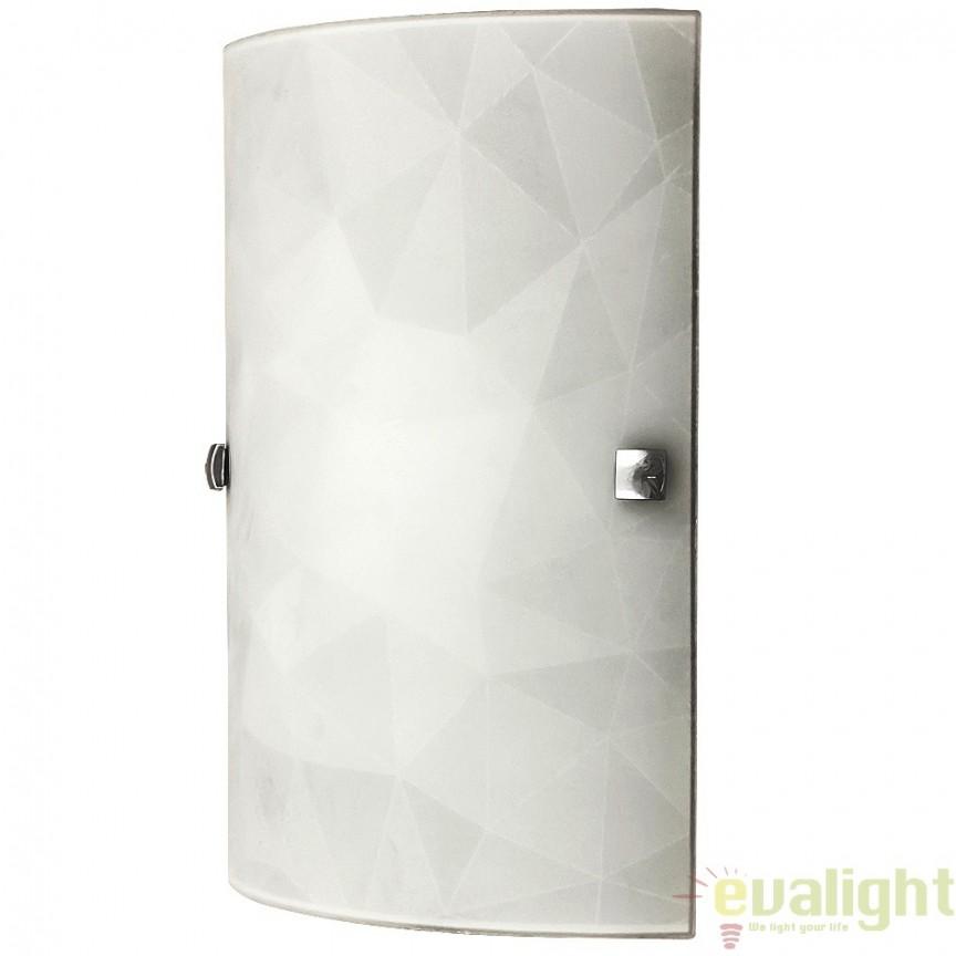 Aplica de perete moderna din sticla, finisaj alb, Izzie 3266 RX, Aplice de perete simple, Corpuri de iluminat, lustre, aplice, veioze, lampadare, plafoniere. Mobilier si decoratiuni, oglinzi, scaune, fotolii. Oferte speciale iluminat interior si exterior. Livram in toata tara.  a