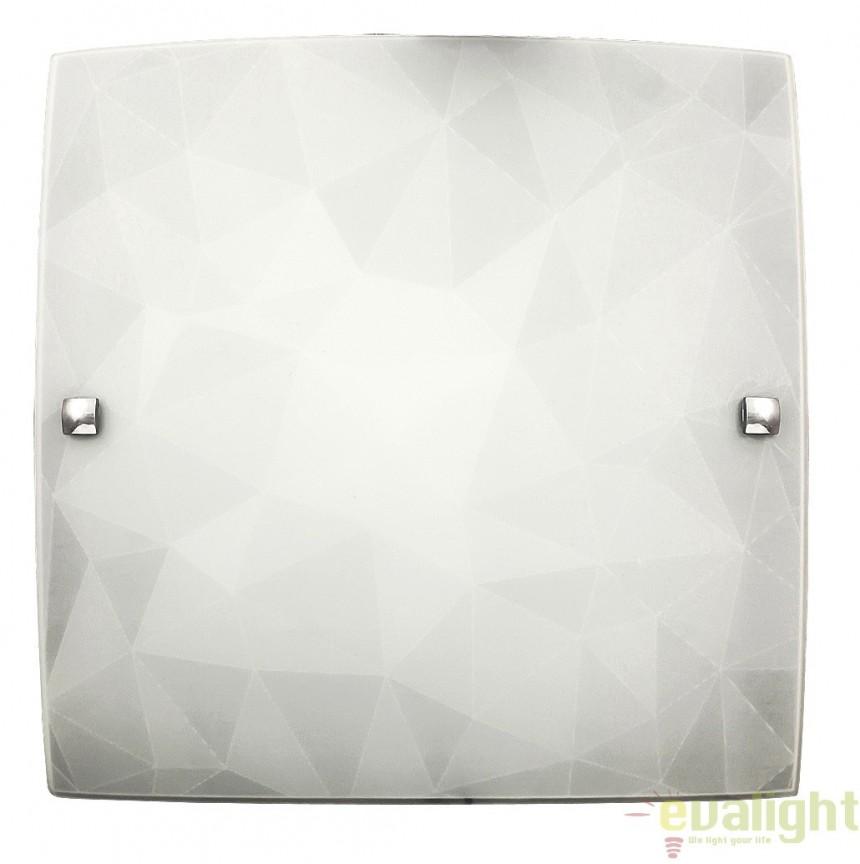 Aplica de perete sau tavan din sticla, finisaj alb, 30x30cm, Izzie 3267 RX, Aplice de perete simple, Corpuri de iluminat, lustre, aplice, veioze, lampadare, plafoniere. Mobilier si decoratiuni, oglinzi, scaune, fotolii. Oferte speciale iluminat interior si exterior. Livram in toata tara.  a