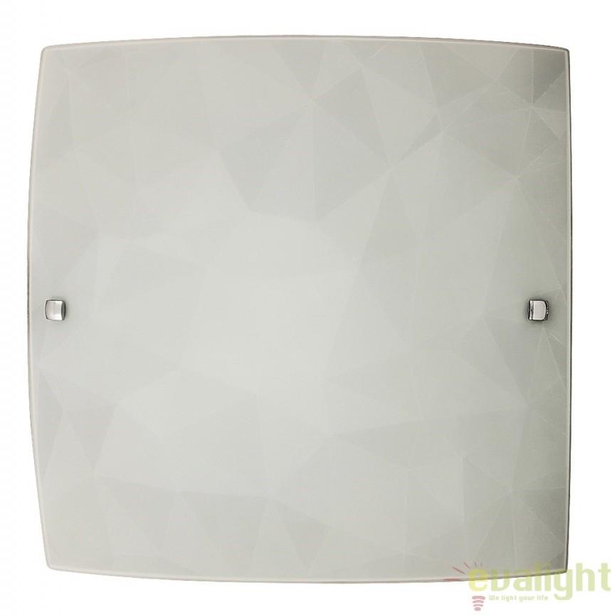 Aplica de perete sau tavan din sticla, finisaj alb, 40x40cm, Izzie 3268 RX, Aplice de perete simple, Corpuri de iluminat, lustre, aplice, veioze, lampadare, plafoniere. Mobilier si decoratiuni, oglinzi, scaune, fotolii. Oferte speciale iluminat interior si exterior. Livram in toata tara.  a