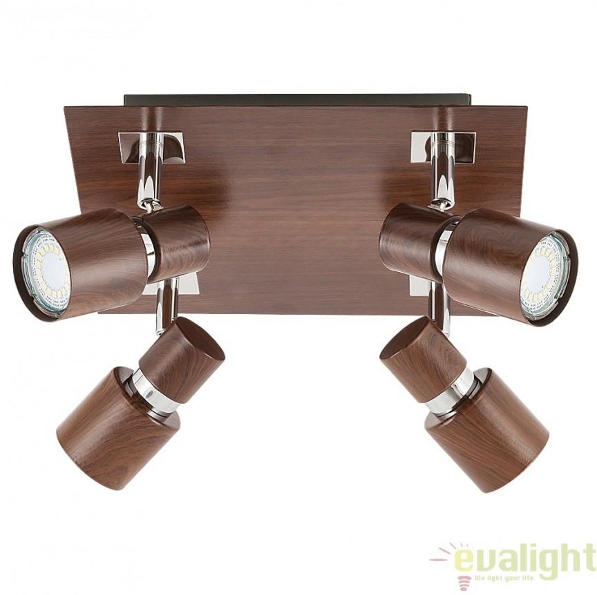 Lustra, Plafoniera cu 4 spoturi, dim.25x25cm,  finisaj wenge, Merkur 6008 RX, Spoturi - iluminat - cu 4 spoturi, Corpuri de iluminat, lustre, aplice, veioze, lampadare, plafoniere. Mobilier si decoratiuni, oglinzi, scaune, fotolii. Oferte speciale iluminat interior si exterior. Livram in toata tara.  a
