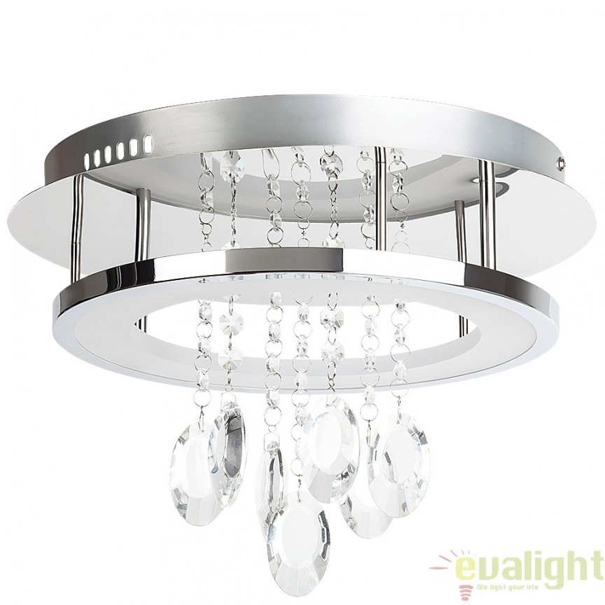 Plafoniera LED cu cristale din sticla, diametru 35cm, finsaj crom, Romina 2501 RX, Plafoniere LED, Spoturi LED, Corpuri de iluminat, lustre, aplice, veioze, lampadare, plafoniere. Mobilier si decoratiuni, oglinzi, scaune, fotolii. Oferte speciale iluminat interior si exterior. Livram in toata tara.  a