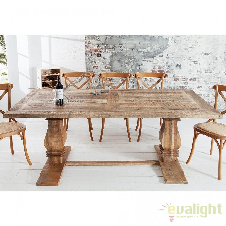 Masa design vintage din lemn masiv de mango, Chalet 200cm A-37052 VC, Mese dining, Corpuri de iluminat, lustre, aplice, veioze, lampadare, plafoniere. Mobilier si decoratiuni, oglinzi, scaune, fotolii. Oferte speciale iluminat interior si exterior. Livram in toata tara.  a