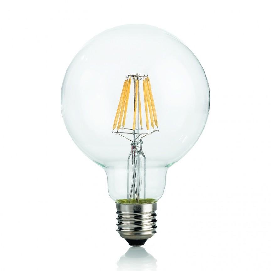 Bec LED E27 8W GLOBO D95 TRASPARENTE 4000K 153971, Becuri E27, Corpuri de iluminat, lustre, aplice, veioze, lampadare, plafoniere. Mobilier si decoratiuni, oglinzi, scaune, fotolii. Oferte speciale iluminat interior si exterior. Livram in toata tara.  a