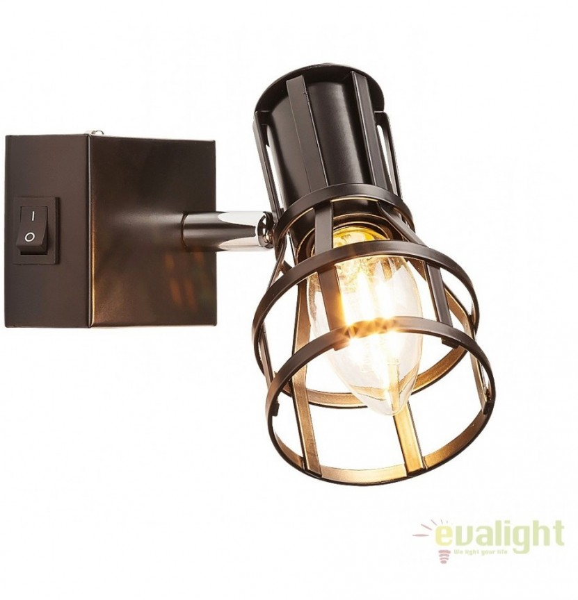 Aplica de perete design Industrial Style, finisaj negru mat, Aria 5958 RX, Spoturi - iluminat - cu 1 spot, Corpuri de iluminat, lustre, aplice, veioze, lampadare, plafoniere. Mobilier si decoratiuni, oglinzi, scaune, fotolii. Oferte speciale iluminat interior si exterior. Livram in toata tara.  a