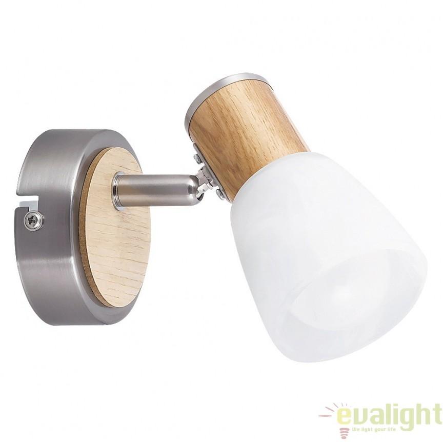 Aplica de perete cu lemn de fag, finisaj crom/fag, Gavin 6486 RX, Spoturi - iluminat - cu 1 spot, Corpuri de iluminat, lustre, aplice, veioze, lampadare, plafoniere. Mobilier si decoratiuni, oglinzi, scaune, fotolii. Oferte speciale iluminat interior si exterior. Livram in toata tara.  a