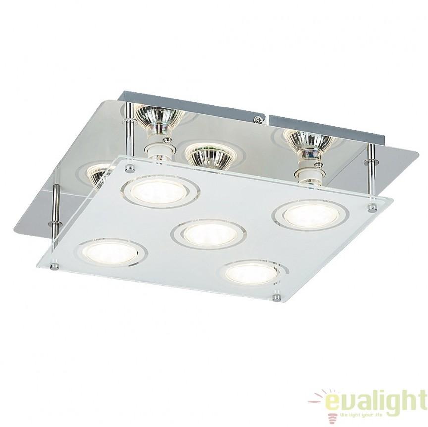 Plafoniera cu 5 spoturi LED GU10, design modern, finisaj crom, Naomi 2512 RX, Spoturi - iluminat - cu 5 si 6 spoturi, Corpuri de iluminat, lustre, aplice, veioze, lampadare, plafoniere. Mobilier si decoratiuni, oglinzi, scaune, fotolii. Oferte speciale iluminat interior si exterior. Livram in toata tara.  a