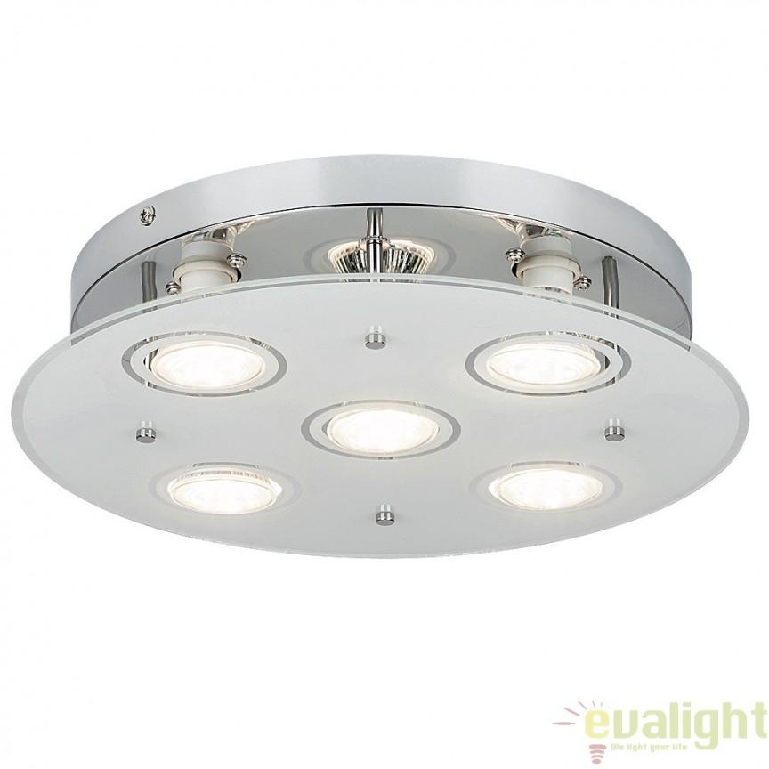 Plafoniera cu 5 spoturi LED GU10, design modern, finisaj crom, diametru 33cm, Naomi 2514 RX, Spoturi - iluminat - cu 5 si 6 spoturi, Corpuri de iluminat, lustre, aplice, veioze, lampadare, plafoniere. Mobilier si decoratiuni, oglinzi, scaune, fotolii. Oferte speciale iluminat interior si exterior. Livram in toata tara.  a