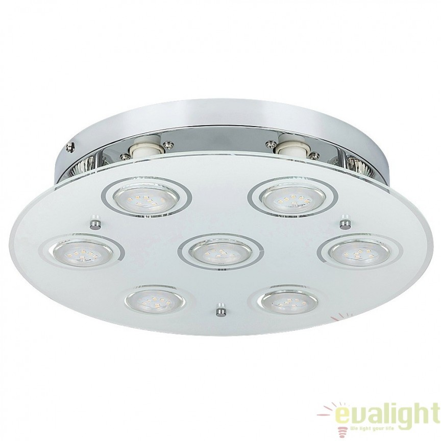 Plafoniera cu 7 spoturi LED GU10, design modern, finisaj crom, diametru 35cm, Naomi 2518 RX, Spoturi - iluminat - cu 5 si 6 spoturi, Corpuri de iluminat, lustre, aplice, veioze, lampadare, plafoniere. Mobilier si decoratiuni, oglinzi, scaune, fotolii. Oferte speciale iluminat interior si exterior. Livram in toata tara.  a