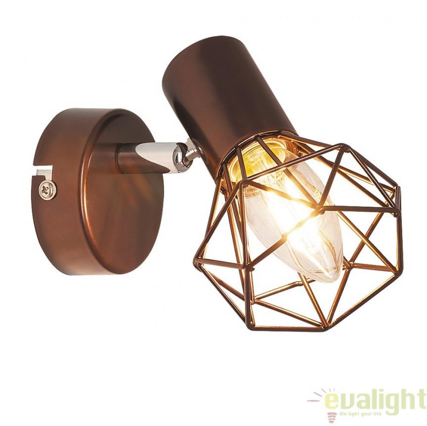 Aplica de perete design Industrial Style, finisaj maro, Odin 6882 RX, Spoturi - iluminat - cu 1 spot, Corpuri de iluminat, lustre, aplice, veioze, lampadare, plafoniere. Mobilier si decoratiuni, oglinzi, scaune, fotolii. Oferte speciale iluminat interior si exterior. Livram in toata tara.  a
