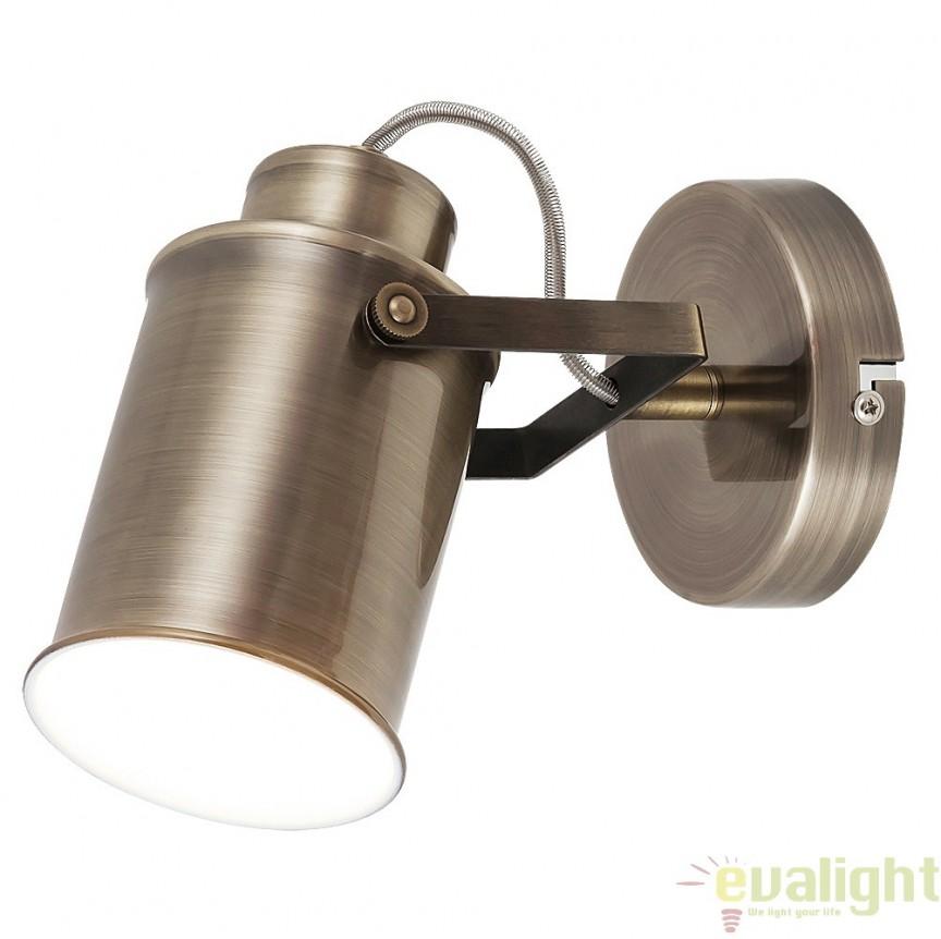 Aplica de perete design Industrial Style, finisaj bronz antic, Peter 5981 RX, Spoturi - iluminat - cu 1 spot, Corpuri de iluminat, lustre, aplice, veioze, lampadare, plafoniere. Mobilier si decoratiuni, oglinzi, scaune, fotolii. Oferte speciale iluminat interior si exterior. Livram in toata tara.  a